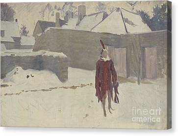 Mannikin In The Snow Canvas Print by John Singer Sargent