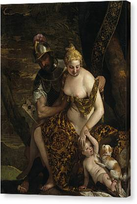 Mars, Venus And Cupid Canvas Print by Paolo Veronese