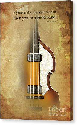 Musicos Canvas Print - Mccartney Hofner Bass, Vintage Background, Gift For Musicians, Inspirational Quote by Pablo Franchi