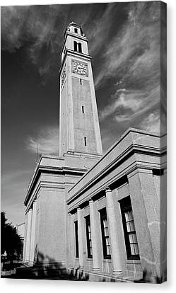 Historic Architecture Canvas Print - Memorial Tower - Lsu Bw by Scott Pellegrin