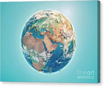 Middle East Canvas Print - Middle East 3d Render Planet Earth Clouds by Frank Ramspott