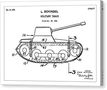 Military Tanks - Patent Drawing For The 1952 Military Tanks By L. Schindel Canvas Print by Jose Elias - Sofia Pereira