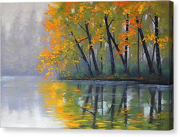 Misty Lake Canvas Print by Graham Gercken
