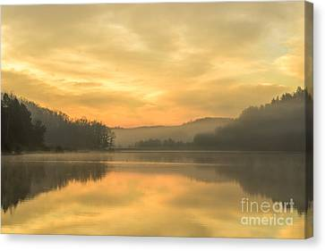 Misty Morning On The Lake Canvas Print by Thomas R Fletcher