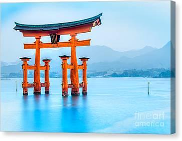 Vermilion Bay Sunrise Canvas Print - Miyajima Torii Gate - Japan by Luciano Mortula