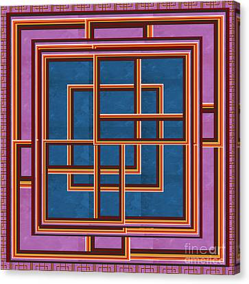 Modern Art Gallery Props Metal Look Abstract Grill  Dark Blue Crystal  Stone Exhibition Focus Border Canvas Print