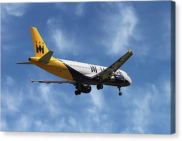Airlines Canvas Print - Monarch Airlines Airbus A320-214 by Nichola Denny