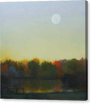 Moonrise-footbridge At White Rock Canvas Print