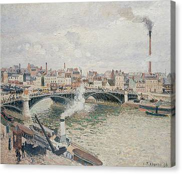 Morning, An Overcast Day, Rouen Canvas Print by Camille Pissarro