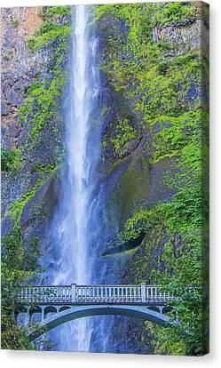 Canvas Print featuring the photograph Multnomah Falls Bridge by Jonny D