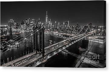 New York City, Manhattan Bridge At Night Canvas Print by Petr Hejl