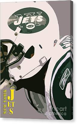 New York Jets Football Team And Original Typography Canvas Print by Pablo Franchi