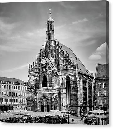 Nuremberg Church Of Our Lady And Main Market Canvas Print by Melanie Viola