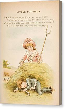 Nursery Rhyme And Illustration Of Canvas Print by Vintage Design Pics