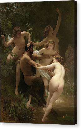 Nymphs And Satyr Canvas Print by William-Adolphe Bouguereau