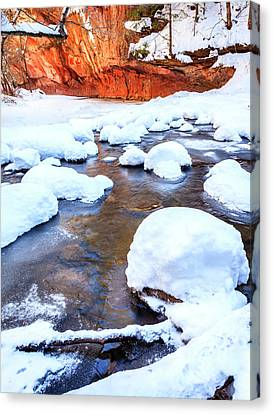 Oak Creek In Winter Canvas Print by Alexey Stiop