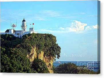 Canvas Print featuring the photograph Old Lighthouse Overlooking Kaohsiung Harbor by Yali Shi