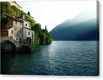 Old Stone Bridge At The End Of Nesso's Ravine, Como Canvas Print