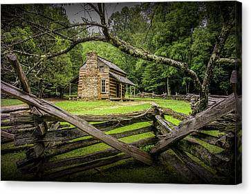 Log Cabin Art Canvas Print - Oliver Cabin In Cade's Cove by Randall Nyhof