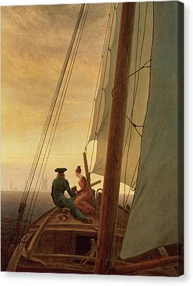 On Board A Sailing Ship Canvas Print by Caspar David Friedrich