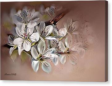 Canvas Print featuring the painting Oriental Pear Blossom by Bonnie Willis