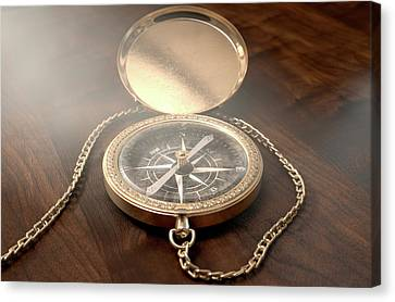 Ornate Pocket Compass Canvas Print by Allan Swart