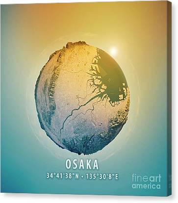 Osaka 3d Little Planet 360-degree Sphere Panorama Canvas Print