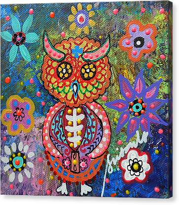 Owl Day Of The Dead Canvas Print by Pristine Cartera Turkus