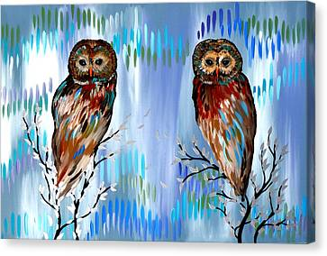 Woman And Owl Canvas Print - 2 Owls by Cathy Jacobs