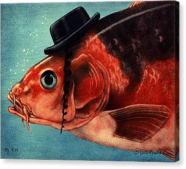 Canvas Print featuring the painting Oy Koi by Will Bullas