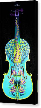 Painted Violin Canvas Print by Elizabeth Elequin