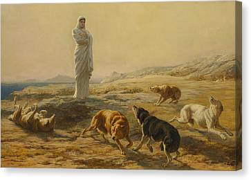 Pallas Athena And The Herdsman's Dogs Canvas Print by Briton Riviere