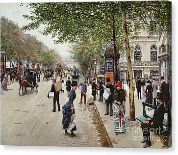 Parisian Street Scene Canvas Print by Jean Beraud