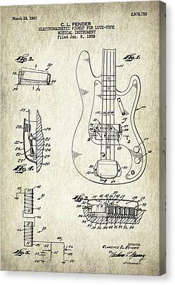 Patent Drawing For The 1959 Electromagnetic Pickup For Lute Type Musical Instrument By C. L. Fender Canvas Print by Jose Elias - Sofia Pereira