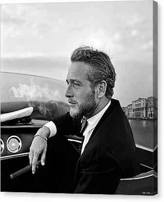 Paul Newman, Movie Star, Cruising Venice, Enjoying A Cuban Cigar Canvas Print by Thomas Pollart
