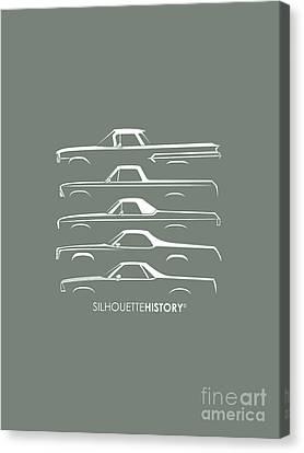 American Truck Canvas Print - Pickupino Silhouettehistory by Gabor Vida