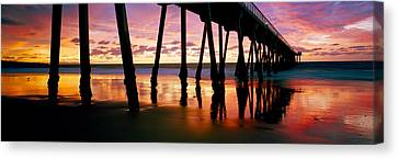 Pier In The Pacific Ocean, Hermosa Canvas Print by Panoramic Images