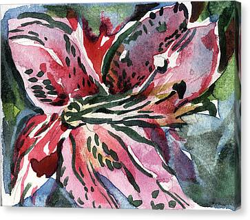Pink Day Lily Canvas Print by Mindy Newman