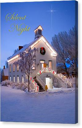 Pioneer Church At Christmas Time Canvas Print by Utah Images
