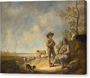 Piping Shepherds Canvas Print