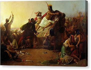Pizarro Seizing The Inca Of Peru Canvas Print by John Everett Millais
