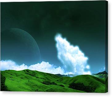 Planets Canvas Print - Planet Rise by Mery Moon