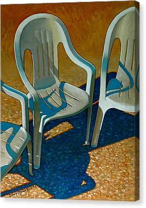 Plastic Patio Chairs Canvas Print by Doug Strickland