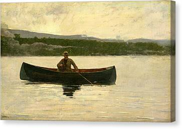 Canvas Print featuring the painting Playing A Fish by Winslow Homer