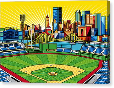 Baseball Canvas Print - Pnc Park Gold Sky by Ron Magnes