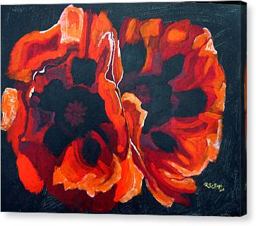 Canvas Print featuring the painting 2 Poppies by Richard Le Page