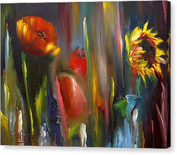 Poppy And Sunflower Canvas Print by Jeff Hunter