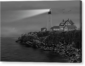 Flying Seagull Canvas Print - Portland Head Lighthouse by Mike McGlothlen