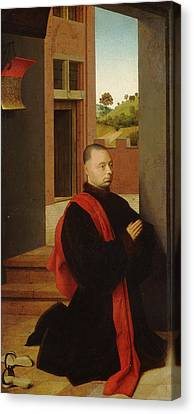 Portrait Of A Male Donor Canvas Print by Petrus Christus