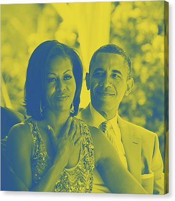 Portrait Of Barack And Michelle Obama Canvas Print by Asar Studios